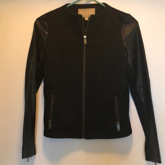 Banana Republic Jackets & Blazers - Black blazer with faux leather sleeves.